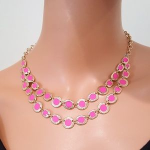 Vera Bradley Short Square and Round Pink Necklace